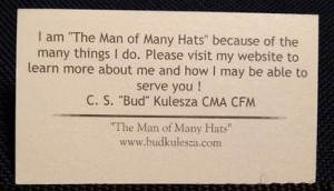 The back of Bud Kulesza's electronic business card