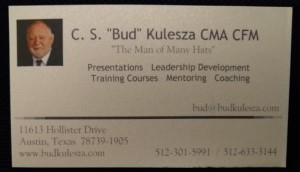 The front of Bud Kulesza's electronic business card